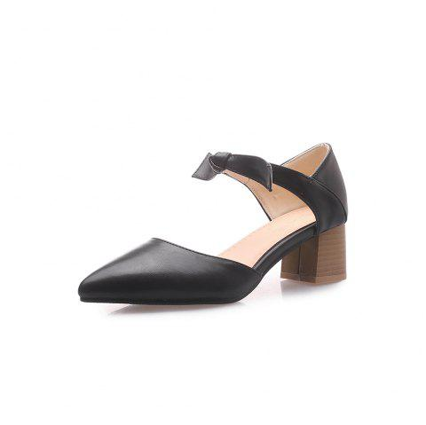 Pointed Toe Pure Color Bowknot Chunky Elegant Lady Sandals - BLACK EU 38