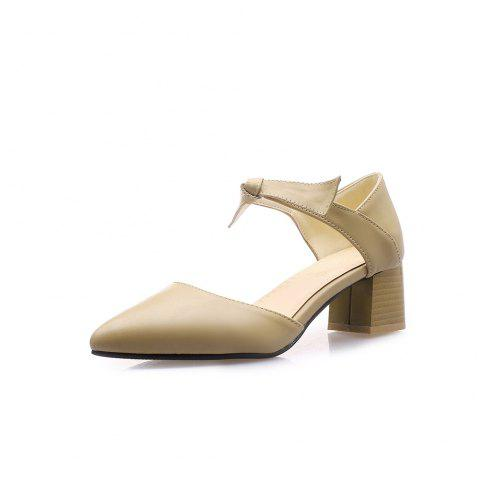 Pointed Toe Pure Color Bowknot Chunky Elegant Lady Sandals - BEIGE EU 37
