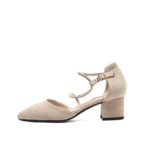 Pointed Toe Napped Leather Pure Color Buckle Strap Chunky Elegant Lady Sandals - BEIGE EU 42