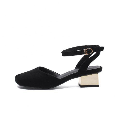 Square Toes Napped Leather Hollow Out Buckle Strap Chunky Casual Lady Sandals - BLACK EU 40