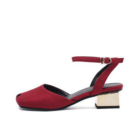 Square Toes Napped Leather Hollow Out Buckle Strap Chunky Casual Lady Sandals - RED EU 41