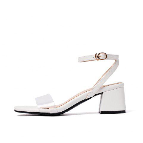 Toe Splicing Buckle Strap Chunky Fashion Lady Sandals - WHITE EU 43