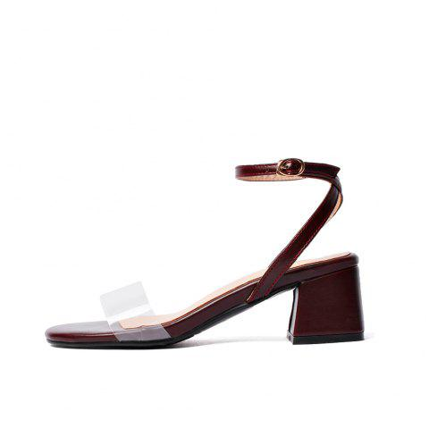 Toe Splicing Buckle Strap Chunky Fashion Lady Sandals - RED WINE EU 36