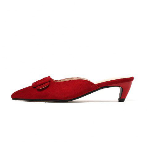 Pointed Toe Napped Leather A Belt Buckle Chunky Elegant Lady Slippers - RED EU 38
