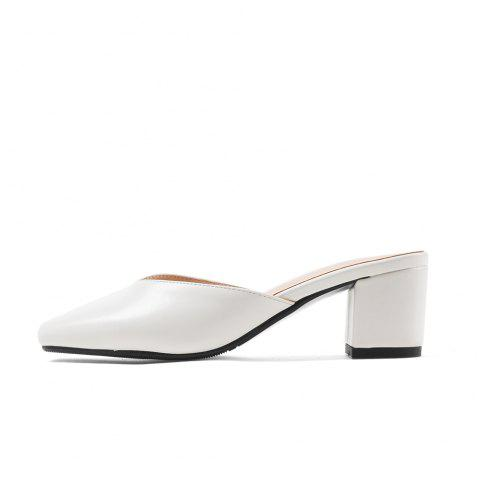 New Fashion Square Toes Pure Color Chunky Elegant Lady Slippers - WHITE EU 43