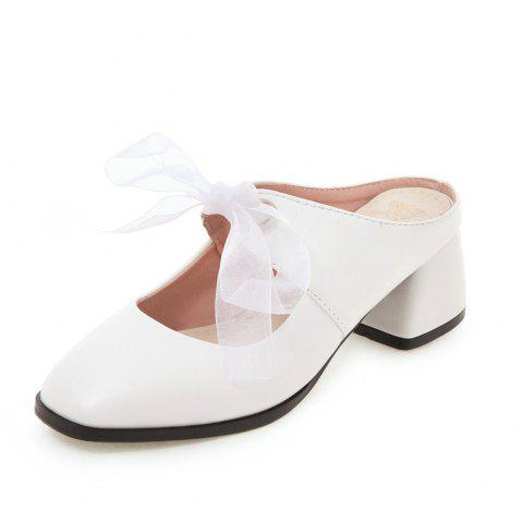 New Fashion Square Toes Pure Color Lace Up Chunky elegant Lady Slippers - WHITE EU 35