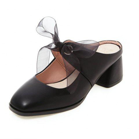 New Fashion Square Toes Pure Color Lace Up Chunky elegant Lady Slippers - BLACK EU 39