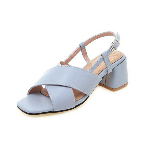 New Fashion Square Toes Pure Color Buckle Strap Chunky Lady Sandals - PASTEL BLUE EU 39