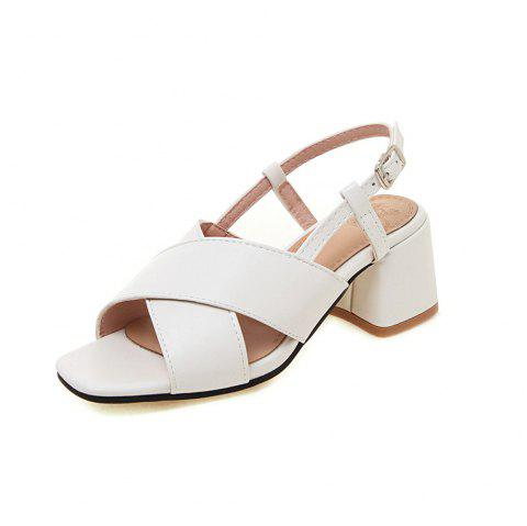 New Fashion Square Toes Pure Color Buckle Strap Chunky Lady Sandals - WHITE EU 39