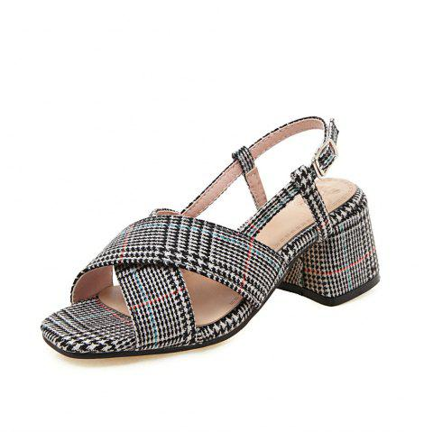 New Fashion Square Toes Pure Color Buckle Strap Chunky Lady Sandals - GRAY EU 37