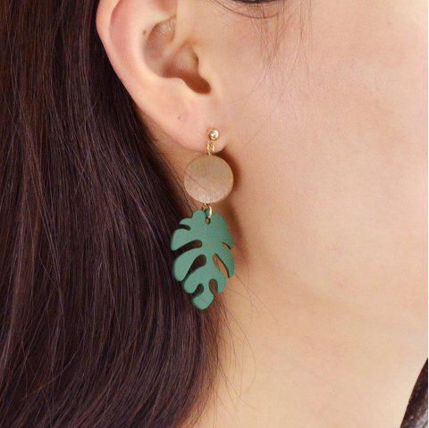 Gold-Color with Green Leaf Acrylic Earring - SHAMROCK GREEN