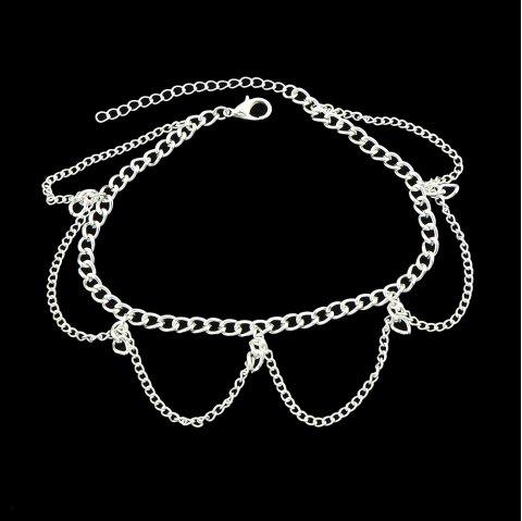 Gold Silver Color Chain With Geometric Anklets 1PC - SILVER