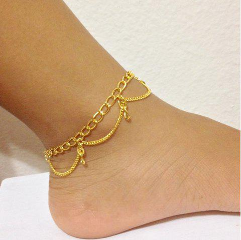 Gold Silver Color Chain With Geometric Anklets 1PC - GOLD