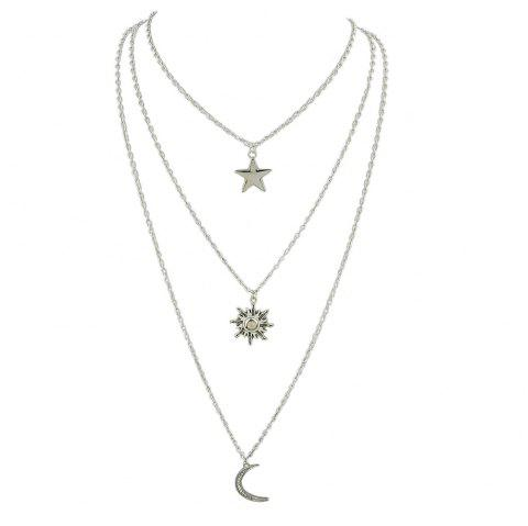 Silver Color Chain with Moon Star Drop Chain Necklace - SILVER