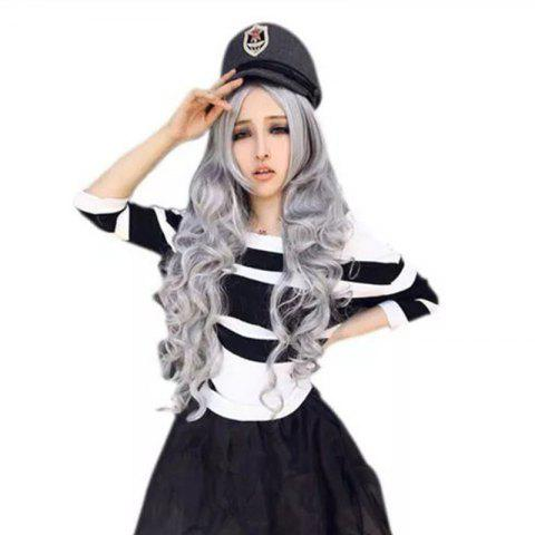 Medium Long Curly Hair Face Cosplay Wig - SILVER 1PC