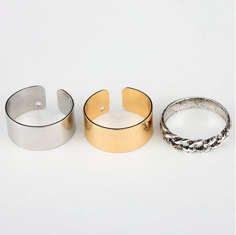 HAOMOU JZ002 Open Knuckle Lady Ring Ornament Rose Gold Tail Ring - multicolor 1 SET