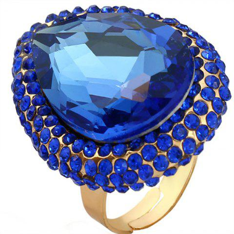 Big Diamond Ring with An Exaggerated Opening - BLUE RESIZEABLE