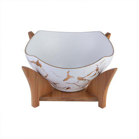 European Ceramic Noodle Soup Set with Wooden Stand - WHITE