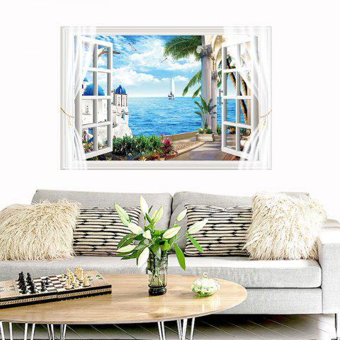 Mediterranean Scenery Removable PVC Wall Sticker - multicolor 24 X 36 INCH