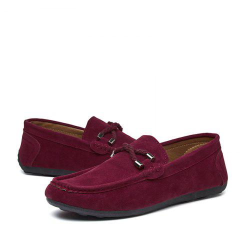 Fashion Low-Top Loafer Flat Shoes - RED WINE EU 42