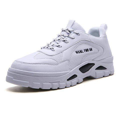 Outdoor Sports Breathable Mesh Thick-soled Travel Casual Sneakers  Shoes for Men - WHITE EU 42