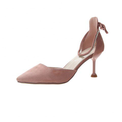 Fashion Suede Upper Lace-up High Heels for Women - DEEP PEACH EU 35