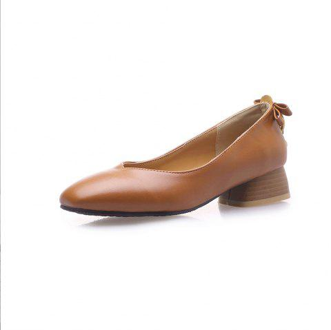 New Fashion Square Toes Pure Color Bowknot Chunky Lady Pumps - CARAMEL EU 37