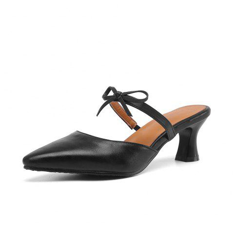 Pointed Toe Pure Color Bowknot Elegant Elasticity Chunky Lady Slippers - BLACK EU 38