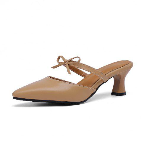 Pointed Toe Pure Color Bowknot Elegant Elasticity Chunky Lady Slippers - APRICOT EU 38