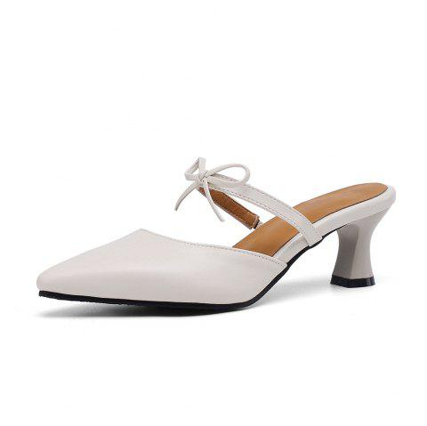 Pointed Toe Pure Color Bowknot Elegant Elasticity Chunky Lady Slippers - BEIGE EU 37