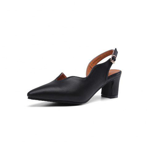 New Fashion Pointed Toe Pure Color Buckle Strap Elegant Chunky Lady Sandals - BLACK EU 43