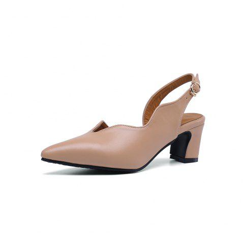 New Fashion Pointed Toe Pure Color Buckle Strap Elegant Chunky Lady Sandals - APRICOT EU 38