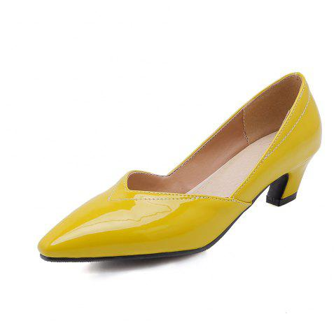 Fashion Pointed Toe Pure Color Patent Leather Chunky Lady Pumps - YELLOW EU 38