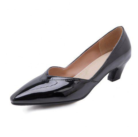Fashion Pointed Toe Pure Color Patent Leather Chunky Lady Pumps - BLACK EU 37