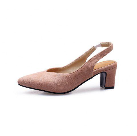 Fashion Pointed Toe Napped Leather Elasticity Chunky Heels Lady Sandals - ORANGE PINK EU 38