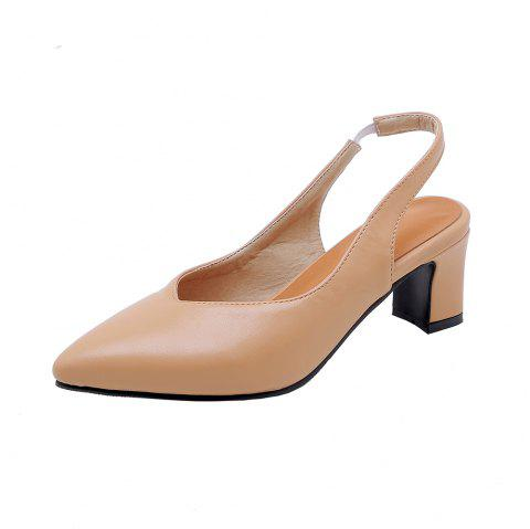 Fashion Pointed Toe Pure Color Elasticity Commuting Chunky Lady Sandals - YELLOW EU 36