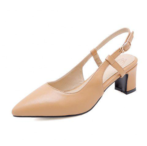 Pointed Toe Pure Color Buckle Strap Elegant Chunky Lady Sandals - APRICOT EU 38