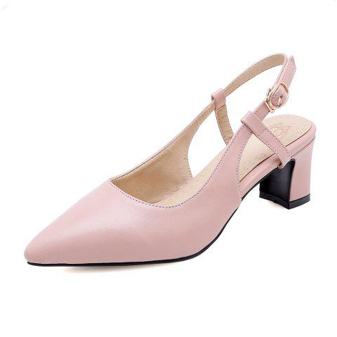 Pointed Toe Pure Color Buckle Strap Elegant Chunky Lady Sandals - PINK EU 37