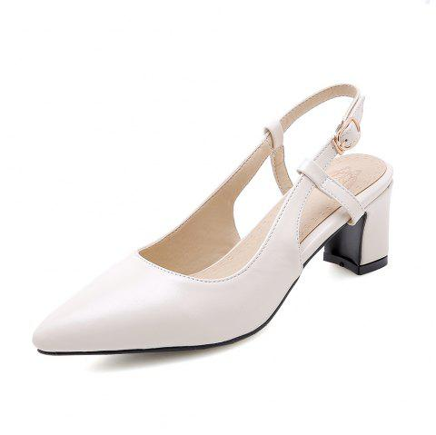 Pointed Toe Pure Color Buckle Strap Elegant Chunky Lady Sandals - WHITE EU 37