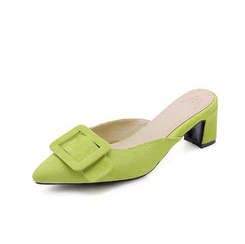 Pointed Toe Napped Leather A Belt Buckle Casual Lady Slippers - GREEN YELLOW EU 36