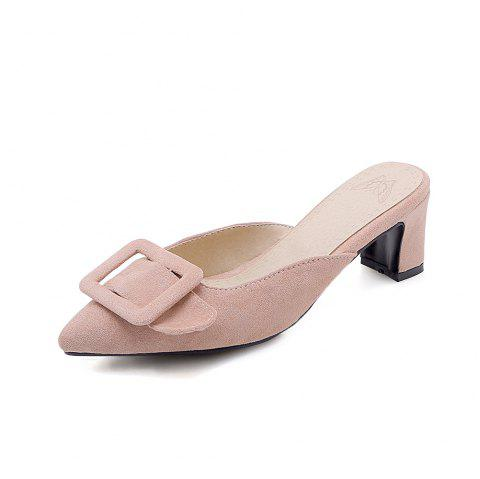 Pointed Toe Napped Leather A Belt Buckle Casual Lady Slippers - PINK EU 35