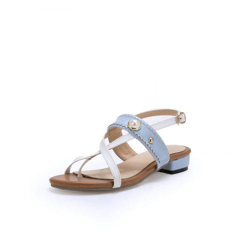 New Fashion Pointed Toe Toe blue Patchwork buckle Strap Low Heel Lady Sandals - LIGHT BLUE EU 38