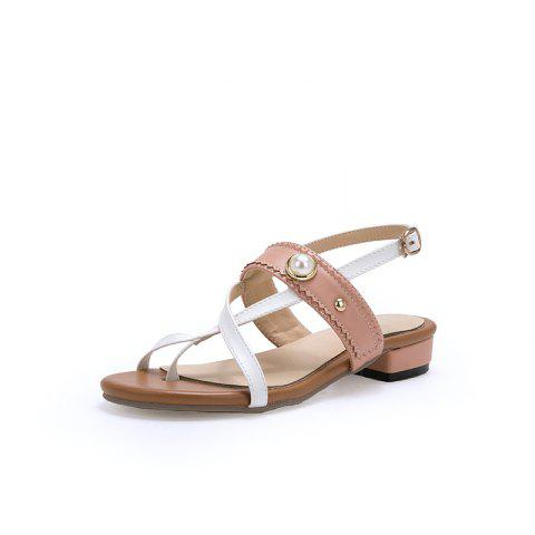 New Fashion Pointed Toe Toe blue Patchwork buckle Strap Low Heel Lady Sandals - PINK EU 37