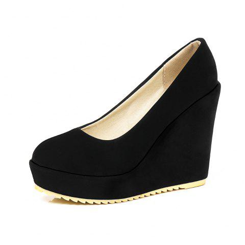 New Fashion Round Toe Platform Napped Leather Pure Color Wedges lady Pumps - BLACK EU 35