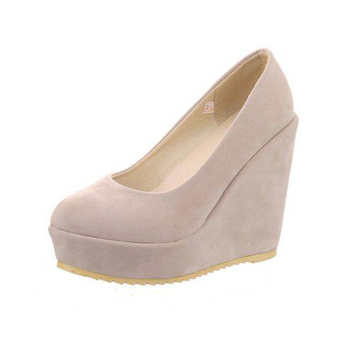 New Fashion Round Toe Platform Napped Leather Pure Color Wedges lady Pumps - BEIGE EU 39