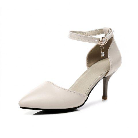 New Fashion Pointed Toe Pure Color Buckle Strap Stilettos Heels Lady Sandals - APRICOT EU 34