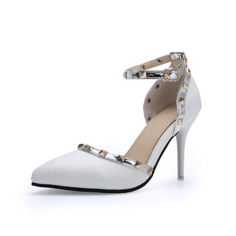 New Fashion Pointed Toe Rivets Buckle Strap stilettos Heels Lady Sandals - WHITE EU 35