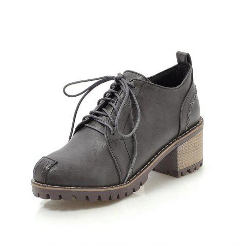 Fashion Round Toe Sewing Lace Up Chunky Casual lady Pumps - GRAY EU 37