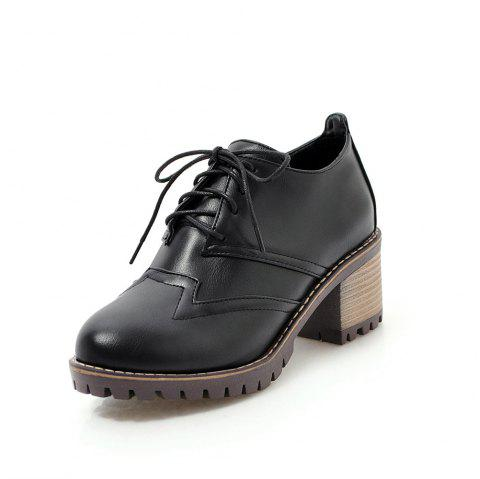 Round Toe Sewing Lace Up Chunky Casual lady Pumps - BLACK EU 36