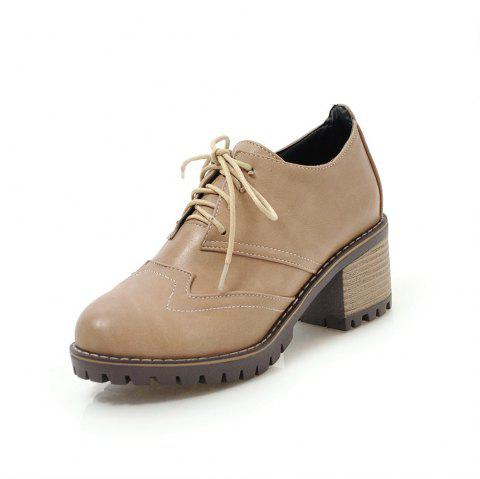 Round Toe Sewing Lace Up Chunky Casual lady Pumps - TAN EU 37